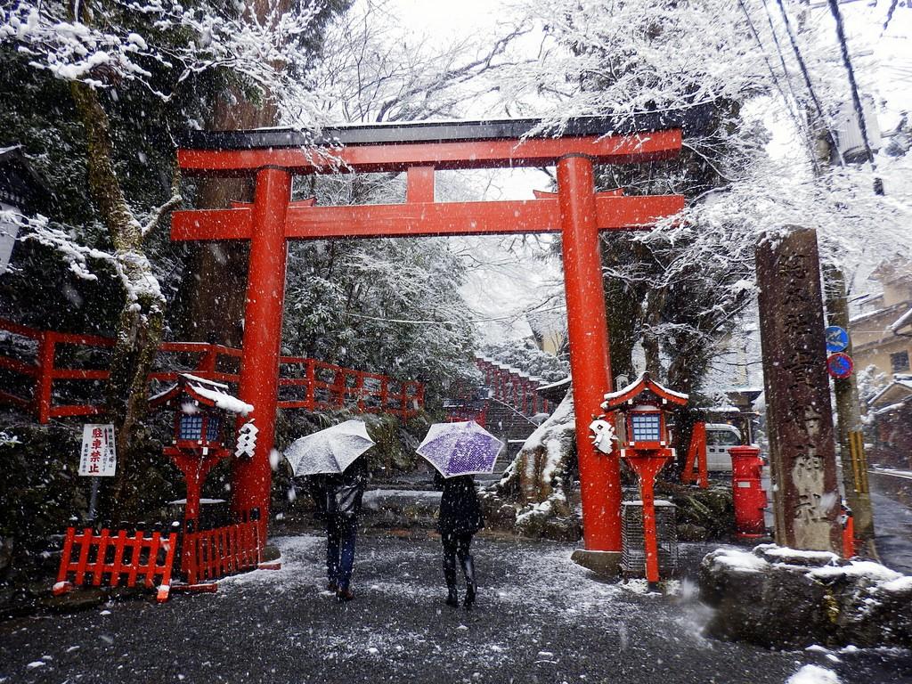 Kifune Shrine snow scene. De Izu navi