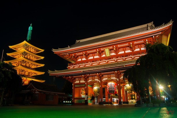 Senso-ji at night.