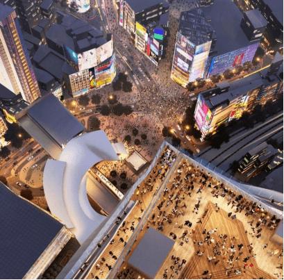 Cruce de Shibuya desde el futuro mirador de 47 plantas