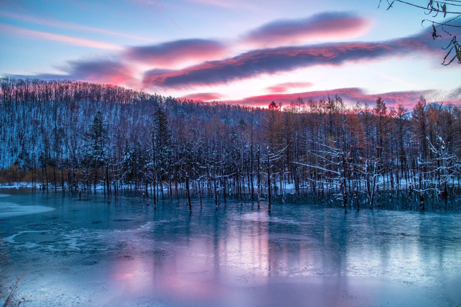 赤く染まる青い池 - Foto de naoakimoto