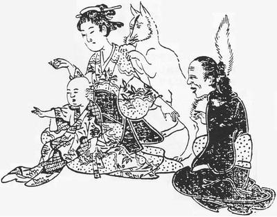 Kitsune-tsuki y Kitsune-tsukia – Zorro yokai y chica poseida